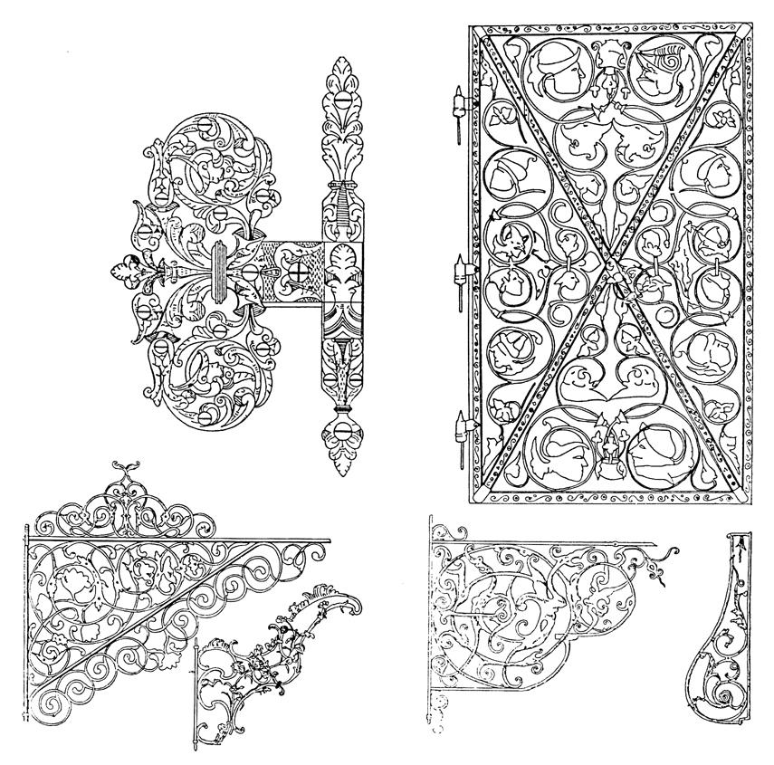 Reneszánsz vasajtó, ajtópánt és reneszánsz és rokokó cégérkonzol-típusok (XVII. sz.)